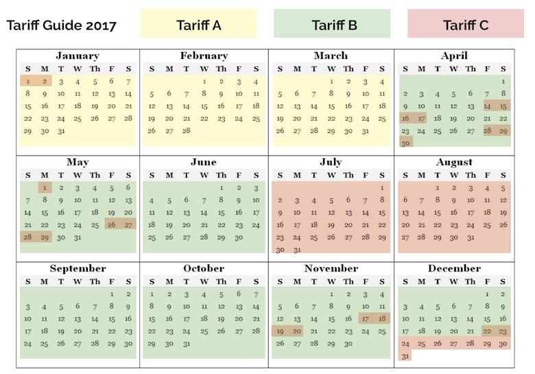Tariff Calendar 2017